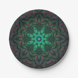 Placas de papel geométricas del trullo del pavo plato de papel de 7 pulgadas