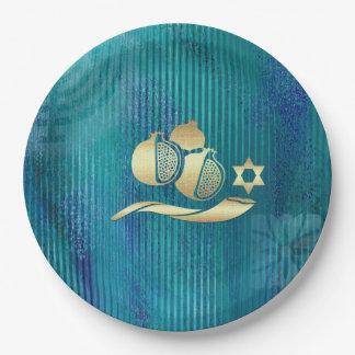 Placas de papel judías del Año Nuevo el | Rosh Plato De Papel De 9 Pulgadas