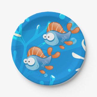 Placas de papel lindas acuáticas de pescados del plato de papel de 7 pulgadas
