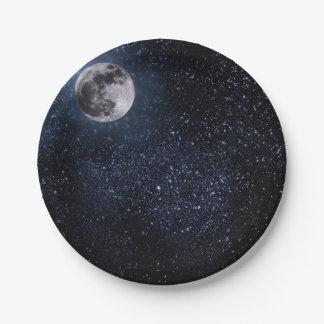 Placas de papel, Luna Llena hermosa y estrellas Plato De Papel De 7 Pulgadas