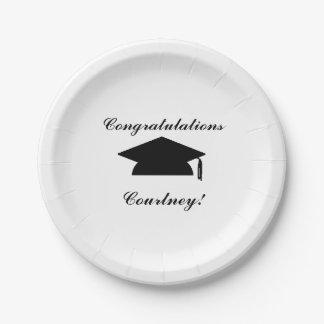 """Placas de papel personalizadas de la """"graduación"""" platos de papel"""