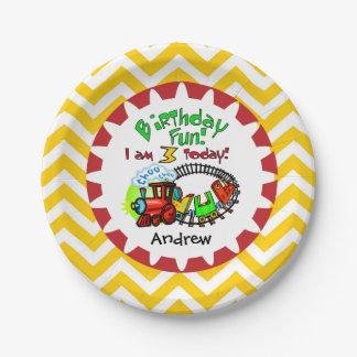 Placas de papel personalizadas del 3ro cumpleaños plato de papel de 7 pulgadas
