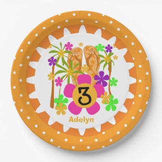 Placas de papel personalizadas del 3ro cumpleaños plato de papel de 9 pulgadas