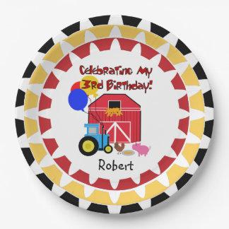 Placas de papel personalizadas del 3ro cumpleaños plato de papel 22,86 cm