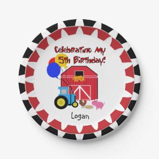 Placas de papel personalizadas del 5to cumpleaños platos de papel