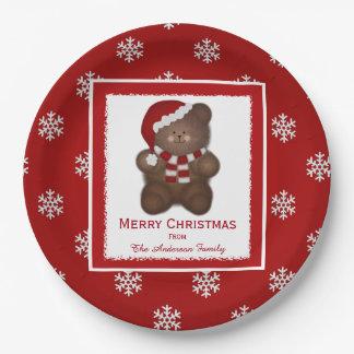 Placas de papel personalizadas del oso de peluche plato de papel de 9 pulgadas