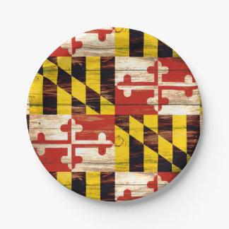 Placas de papel resistidas de la bandera de madera platos de papel
