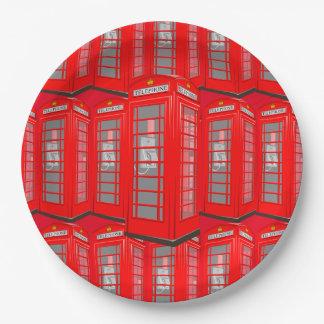 Placas de papel rojas británicas de la cabina de platos de papel