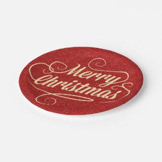 Placas de papel rojas de las Felices Navidad del Plato De Papel De 7 Pulgadas
