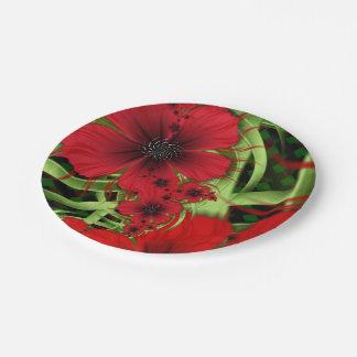 Placas de papel rojas de sensación plato de papel de 7 pulgadas