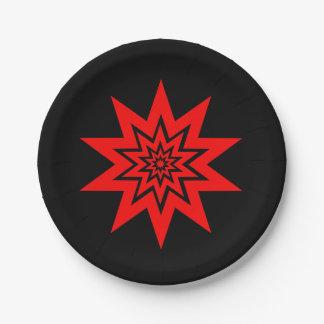 Placas de papel rojas del laser Starburst Plato De Papel De 7 Pulgadas
