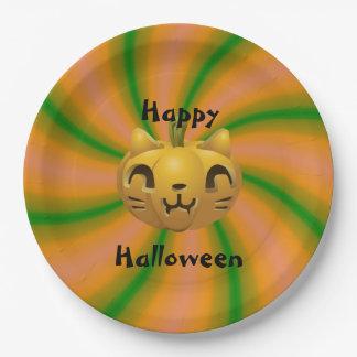 Placas de papel talladas gato de Halloween Platos De Papel