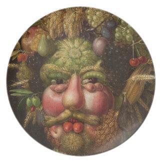 Placas de Vertumnus de Giuseppe Arcimboldo 1590 Plato De Cena