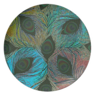 Placas decorativas del modelo de la pluma del pavo platos