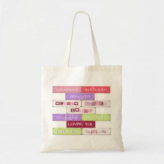 Placas del amor - tote del presupuesto bolsa tela barata