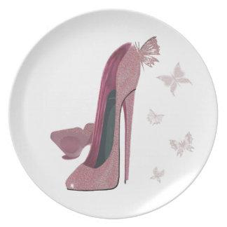 Placas del arte del zapato del estilete plato de cena