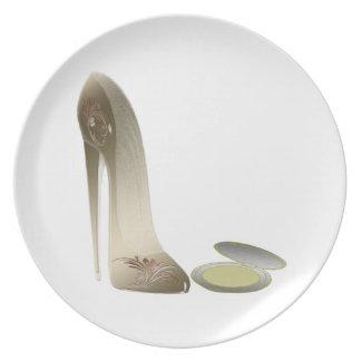 Placas del arte del zapato del estilete plato