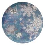 Placas del copo de nieve platos de comidas