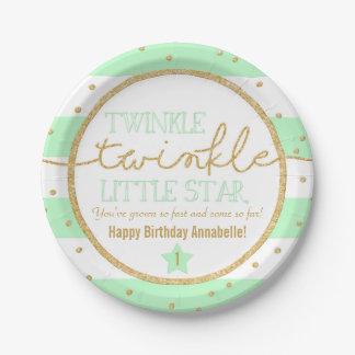 Placas del cumpleaños de la menta y del oro del platos de papel