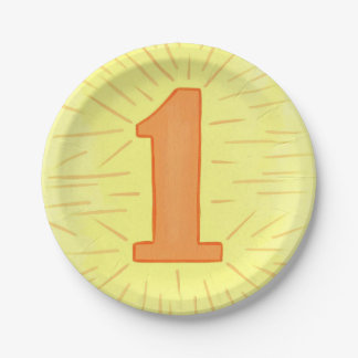 Placas del cumpleaños del amarillo anaranjado del platos de papel
