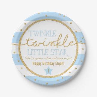 Placas del cumpleaños del azul y del oro del platos de papel