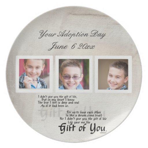 placas del día de la adopción platos para fiestas