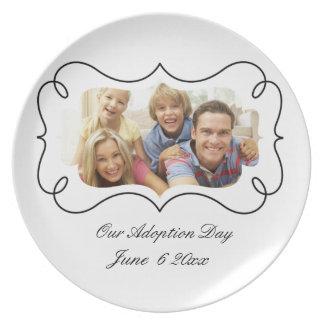 placas del día de la adopción plato de comida