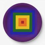 Placas del fiesta del cuadrado del arco iris plato de papel 22,86 cm