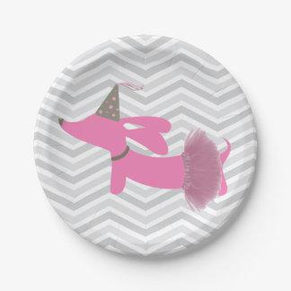 Placas del fiesta del perro de la salchicha de plato de papel de 7 pulgadas