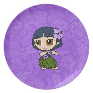 Placas del hibisco del chica de Hula de las mieles Plato De Comida