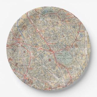 Placas del mapa plato de papel de 9 pulgadas