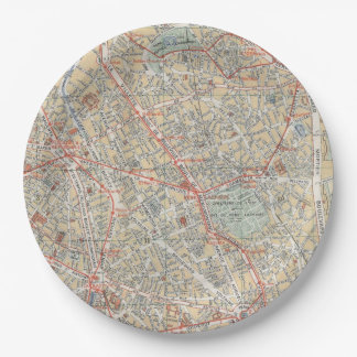 Placas del mapa platos de papel