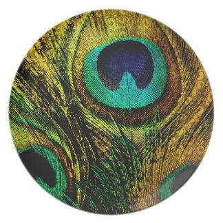 Placas del modelo de la pluma del pavo real del plato de cena