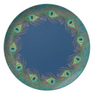 Placas del modelo de la pluma del pavo real platos para fiestas