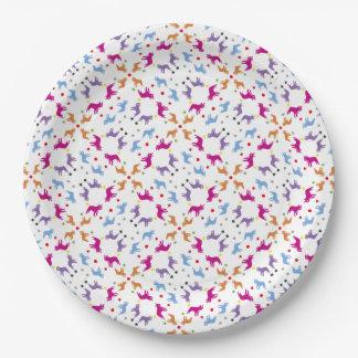 Placas del modelo de los dogos franceses platos de papel