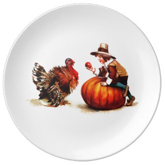 Placas del niño del peregrino del vintage y de la platos de cerámica