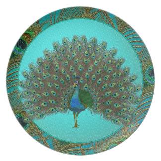 Placas del pavo real platos para fiestas