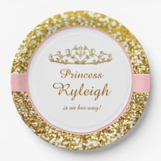 Placas del rosa y de la princesa del oro platos de papel