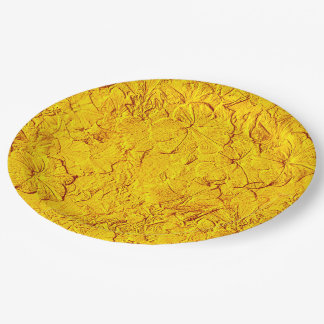 Placas esculpidas del fiesta del Amarillo-Papel de Platos De Papel