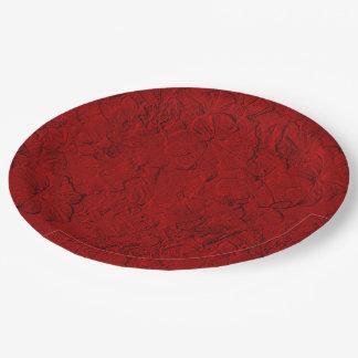 Placas esculpidas del fiesta del Rojo-Papel de las Platos De Papel