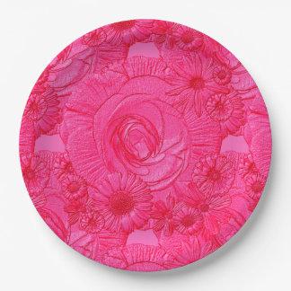 PLACAS Flor-Calientes grabadas en relieve del Platos De Papel