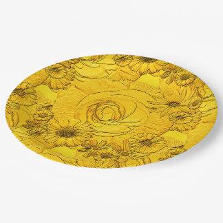 PLACAS Flor-De oro grabadas en relieve del Platos De Papel