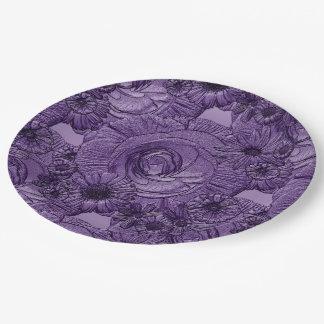 PLACAS Flor-Oscuras grabadas en relieve del Platos De Papel