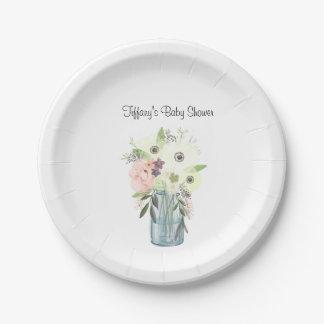 Placas florales del fiesta del tarro de albañil de plato de papel de 7 pulgadas