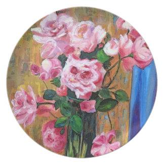 Placas florales plato de cena