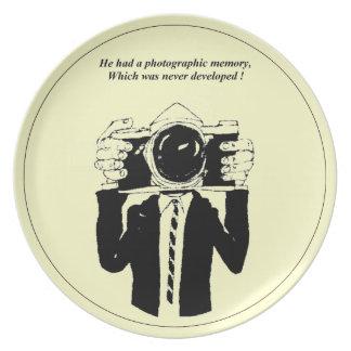 Placas fotográficas de un fiesta de la memoria plato de cena