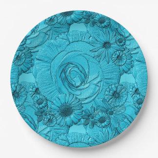 PLACAS grabadas en relieve de Flor-Lt Azul-PAPEL Platos De Papel
