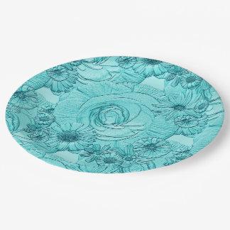 PLACAS grabadas en relieve del Azul-PAPEL del Platos De Papel