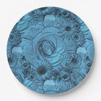 PLACAS grabadas en relieve del Flor-Azul-PAPEL Platos De Papel