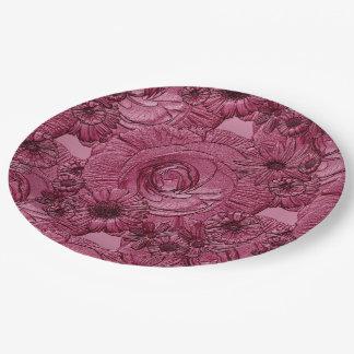 PLACAS grabadas en relieve del Flor-Ciruelo-PAPEL Platos De Papel